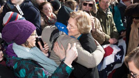 Sen. Elizabeth Warren greets supporters after announcing her official bid for President in Lawrence, Massachusetts.