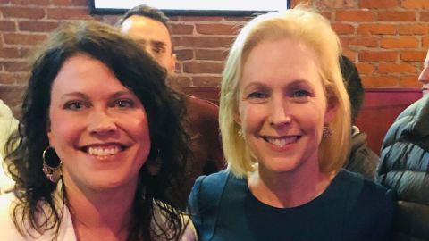 Iowa voter Meghann Foster met 2020 presidential candidate Kirsten Gillibrand, but she has yet to get her photo with Kamala Harris.