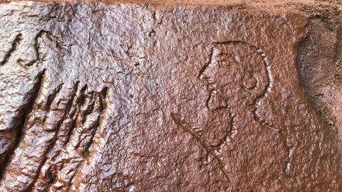 The graffiti in a quarry near Hadrian's Wall was carved by the Roman soldiers in A.D. 207.
