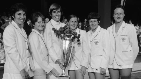 Heldman (far left) poses alongside her victorious teammates after winning the 1970 Wightman Cup, the annual competition between the top female players from the US and UK.