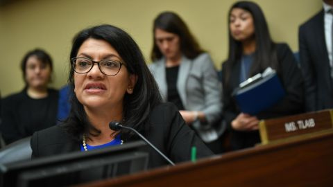 US Congresswoman Rashida Tlaib, Democrat of Michigan, questions Michael Cohen, US President Donald Trump's former personal attorney, as he testifies before the House Oversight and Reform Committee in the Rayburn House Office Building on Capitol Hill in Washington, DC on February 27, 2019. (Photo by MANDEL NGAN / AFP)        (Photo credit should read MANDEL NGAN/AFP/Getty Images)