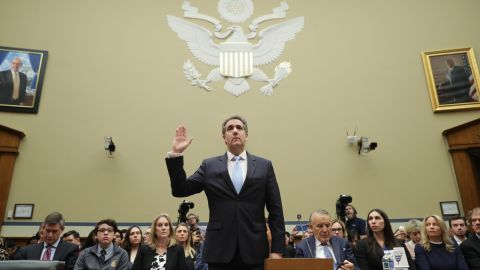 WASHINGTON, DC - FEBRUARY 27: Michael Cohen, former attorney and fixer for President Donald Trump is sworn in before testifying before the House Oversight Committee on Capitol Hill February 27, 2019 in Washington, DC. Last year Cohen was sentenced to three years in prison and ordered to pay a $50,000 fine for tax evasion, making false statements to a financial institution, unlawful excessive campaign contributions and lying to Congress as part of special counsel Robert Mueller's investigation into Russian meddling in the 2016 presidential elections. (Photo by Chip Somodevilla/Getty Images)