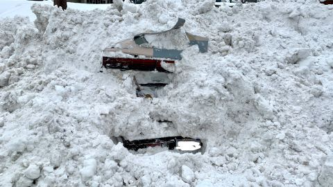 This was the back of the car the snowplow driver hit.