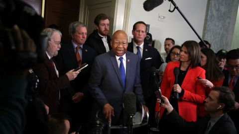 WASHINGTON, DC - FEBRUARY 27:  Committee chairman Rep. Elijah Cummings (D-MD) speaks to members of the media after Michael Cohen, former attorney and fixer for President Donald Trump, testified before the House Oversight Committee on Capitol Hill February 27, 2019 in Washington, DC. Last year Cohen was sentenced to three years in prison and ordered to pay a $50,000 fine for tax evasion, making false statements to a financial institution, unlawful excessive campaign contributions and lying to Congress as part of special counsel Robert Mueller's investigation into Russian meddling in the 2016 presidential elections. (Photo by Alex Wong/Getty Images)