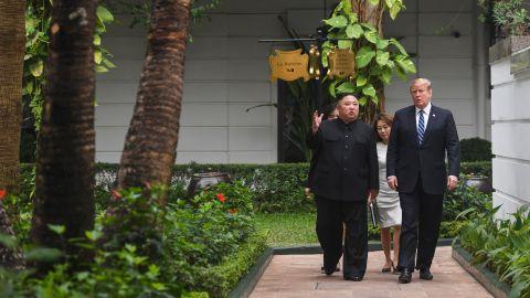 Trump with Kim at the Sofitel Legend Metropole hotel in Hanoi in February.