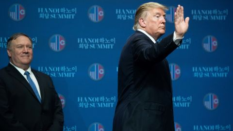 US President Donald Trump (R) and US Secretary of State Mike Pompeo leave after a press conference following the second US-North Korea summit in Hanoi on February 28, 2019. - The nuclear summit between US President Donald Trump and Kim Jong Un in Hanoi ended without an agreement on February 28, the White House said after the two leaders cut short their discussions. (Photo by SAUL LOEB / AFP)        (Photo credit should read SAUL LOEB/AFP/Getty Images)