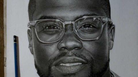 An image of Kevin Hart drawn by Nigerian pencil artist Eli Waduba