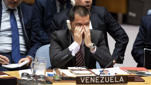 Venezuelan Foreign Minister Jorge Arreaza listens to a debate about Venezuela in the UN Security Council, earlier this week.