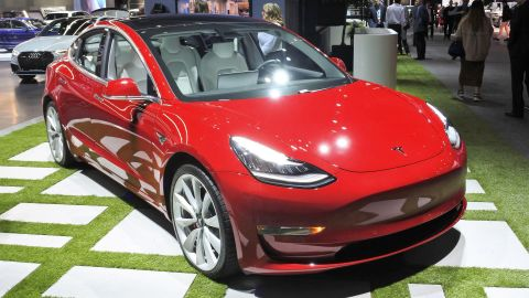 Photo taken in Los Angeles in November 2018 shows Tesla Inc.'s Model 3 sedan. On February 28, 2019, the maker of electric cars began to take online orders for its first mass-produced model, the price of which has been reduced to $35,000.
