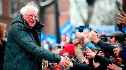 US Senator Bernie Sanders arrives for a rally to kick off his 2020 US presidential campaign, in the Brooklyn borough of New York City on March 2, 2019. (Photo by Johannes EISELE / AFP)        (Photo credit should read JOHANNES EISELE/AFP/Getty Images)