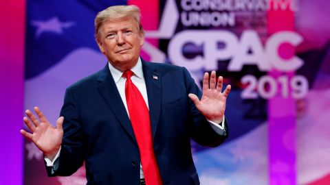 President Donald Trump looks to the cheering audience as he arrives to speak at Conservative Political Action Conference, CPAC 2019, in Oxon Hill, Md., Saturday, March 2, 2019. (AP Photo/Carolyn Kaster)