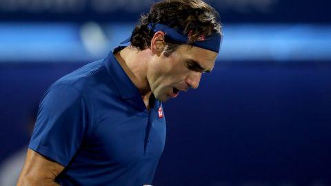 A pumped up Roger Federer reacts after winning the first set of the Dubai Open final against Stefanos Tsitsipas of Greece.