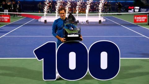 Roger Federer was claiming his 100th career title and eighth Dubai crown with his victory over Stefanos Tsitsipas.