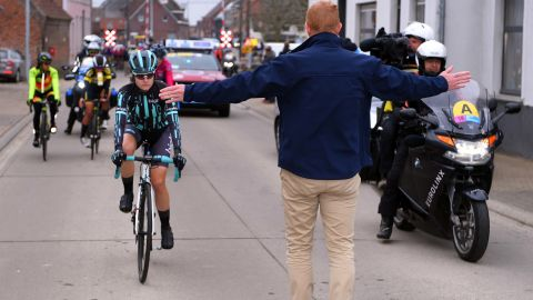 """Swiss cyclist Nicole Hanselmann said it was an """"awkward moment"""" when she caught up with the men's support vehicles in the race in Belgium."""