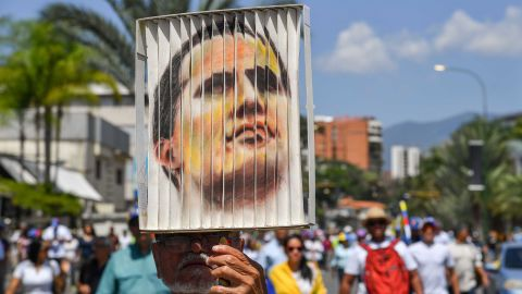 A Guaido supporter in Caracas on Monday.