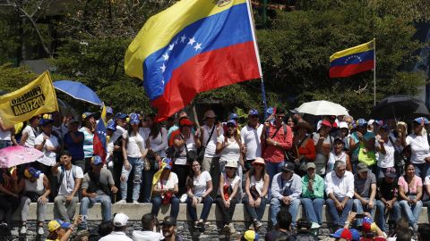Protesters gather for a rally to demand the resignation of Venezuelan President Nicolas Maduro in Caracas on Monday.