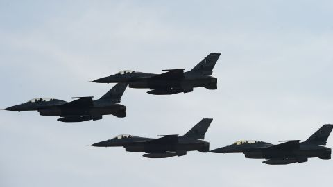Pakistani F-16 fighter jets fly past during a Pakistan Day military parade in Islamabad on March 23, 2017.