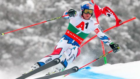 French racer Alexis Pinturault in action during the giant slalom in Bansko, Bulgaria.