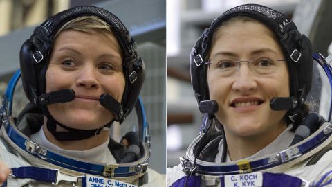 NASA astronauts Anne McClain, left, and Christina H. Koch will take part in a spacewalk March 29.