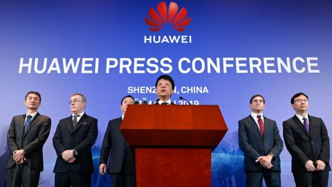Huawei's rotating chairman Guo Ping speaks during a press conference in Shenzhen, China's Guangdong province on March 7, 2019. - Chinese telecom giant Huawei said on March 7 it was suing the United States for barring government agencies from buying the telecom company's equipment and services. (Photo by WANG ZHAO / AFP)        (Photo credit should read WANG ZHAO/AFP/Getty Images)