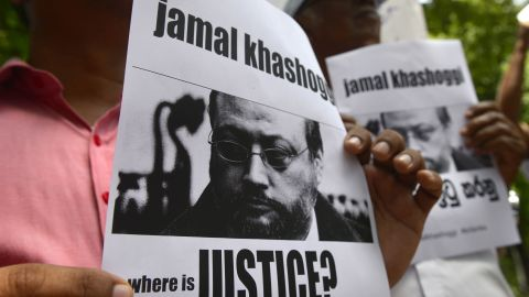 """Members of the Sri Lankan web journalist association hold placards with the image of Saudi journalist Jamal Khashoggi during a demonstration outside the Saudi Embassy in Colombo on October 25, 2018, following Khashoggi's dissapearance on October 2 at the Saudi consulate in Istanbul. - Saudi Arabia's crown prince denounced the """"repulsive"""" murder of journalist Jamal Khashoggi and vowed justice will prevail, in his first public comments on the case, without addressing US accusations of a monumental cover-up. (Photo by LAKRUWAN WANNIARACHCHI / AFP)        (Photo credit should read LAKRUWAN WANNIARACHCHI/AFP/Getty Images)"""