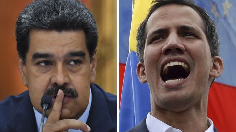 This combination of pictures created on February 5, 2019 shows Venezuelan President Nicolas Maduro gesturing during a press conference at Miraflores Presidential Palace in Caracas, on January 9, 2019 and Venezuela's National Assembly head Juan Guaido addressing the crowd during a mass opposition rally in Caracas on January 23, 2019. - International clamor for snap elections in Venezuela intensified as European powers recognized opposition chief Juan Guaido as interim leader, after President Nicolas Maduro rejected an ultimatum to call early voting. (Photo by STF / AFP)        (Photo credit should read STF/AFP/Getty Images)
