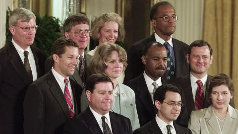 In May 2001, President George W. Bush nominated Roberts  to the US Court of Appeals for the District of Columbia. Roberts is seen at right along with Bush's other judicial appointments.