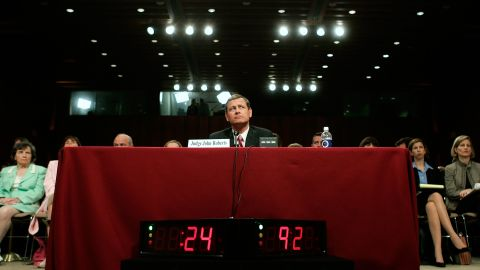 Roberts answers questions during his second day of confirmation hearings in September 2005. The Senate voted 78-22 to confirm him.