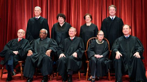 The US Supreme Court, with newest member Brett Kavanaugh, poses for an official portrait in November 2018. In the back row, from left, are Neil Gorsuch, Sonia Sotomayor, Kagan and Kavanaugh. In the front row, from left, are Stephen Breyer, Clarence Thomas, Roberts, Ginsburg and Samuel Alito.