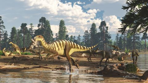 An artist's impression of a Galleonosaurus dorisae herd on a riverbank in the Australian-Antarctic rift valley during the Early Cretaceous, 125 million years ago.