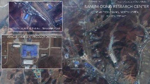 Satellite image, taken February 22 by imaging company DigitalGlobe, shows a rocket assembly facility in Sanumdong, North Korea.