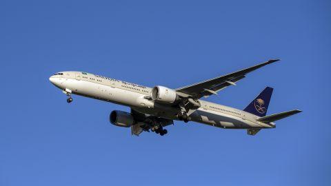 A Saudi Arabian Airlines Boeing 777 plane