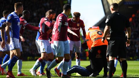 Stewards eventually caught up with the assailant and escorted him away from the field of play.
