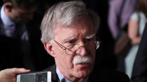 MIAMI, FLORIDA - FEBRUARY 18:  National Security Adviser John Bolton speaks to the media before the arrival of President Donald Trump during a rally at Florida International University  on February 18, 2019 in Miami, Florida. President Trump is scheduled to speak about  the ongoing crisis in Venezuela. (Photo by Joe Raedle/Getty Images)