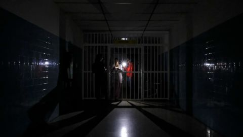 A dark corridor at Miguel Perez Carreno hospital, in Caracas, during the outage Thursday.