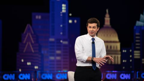 South Bend, Ind., MayorÊPete Buttigieg speaks during the CNN Democratic Presidential Town Hall at SXSW at ACL Live at the Moody Theater in Austin, Tex., on March 10, 2019. (Tamir Kalifa for CNN)