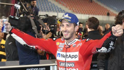 Dovizioso celebrates following his 0.023-second triumph.