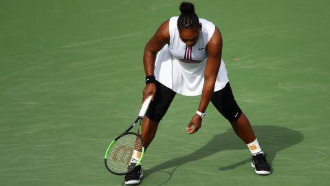 Serena Williams during her third-round match with Garbine Muguruza at Indian Wells.