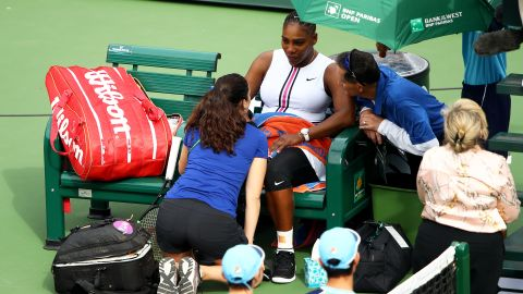 Williams met with medical staff at Indian Wells during her match against Garbine Muguruza.