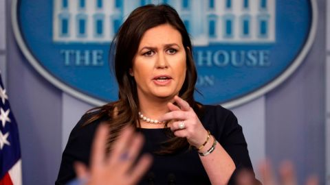 White House press secretary Sarah Sanders speaks during a press briefing at the White House, Monday, March 11, 2019, in Washington. (AP Photo/ Evan Vucci)