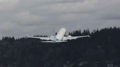 A Boeing 737 MAX 9 is lifts off during the first-flight event for the company's new airplane at Renton Field in Renton, Washington on April 13, 2017.  The MAX 9 model is almost 9 feet longer than the MAX 8s 129 feet 8 inches, and it carries 178 passengers in two classes compared with the MAX 8s 162 in a similar configuration. / AFP PHOTO / Jason Redmond        (Photo credit should read JASON REDMOND/AFP/Getty Images)