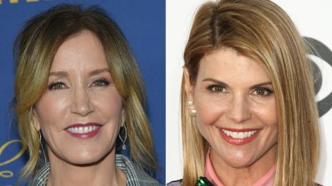 """(COMBO) This combination of pictures created on March 12, 2019 shows US actress Felicity Huffman(L) attending the Showtime Emmy Eve Nominees Celebration in Los Angeles on September 16, 2018 and actress Lori Loughlin arriving at the People's Choice Awards 2017 at Microsoft Theater in Los Angeles, California, on January 18, 2017. - Two Hollywood actresses including Oscar-nominated """"Desperate Housewives"""" star Felicity Huffman are among 50 people indicted in a nationwide university admissions scam, court records unsealed in Boston on March 12, 2019 showed. The accused, who also include chief executives, allegedly cheated to get their children into elite schools, including Yale, Stanford, Georgetown and the University of Southern California, federal prosecutors said.Huffman, 56, and Lori Loughlin, 54, who starred in """"Full House,"""" are charged with conspiracy to commit mail fraud and honest services mail fraud. (Photos by LISA O'CONNOR and Tommaso Boddi / AFP)        (Photo credit should read LISA O'CONNOR,TOMMASO BODDI/AFP/Getty Images)"""