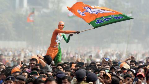 Bharatiya Janata Party (BJP) supporters seen during Sankalp Rally at Gandhi Maidan on March 3, 2019 in Patna, India.