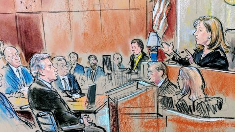 Sketch of Paul Manafort and Judge Amy Berman Jackson in DC courtroom
