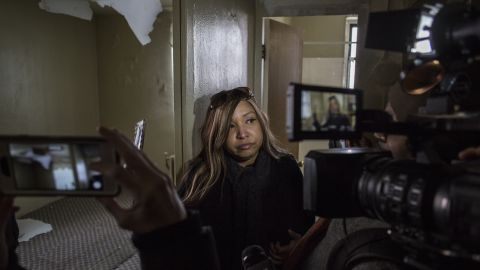 Lynne Patton, a regional HUD administrator and former Trump family aide, leads journalists on a tour of a public housing complex in Queens on March 6.