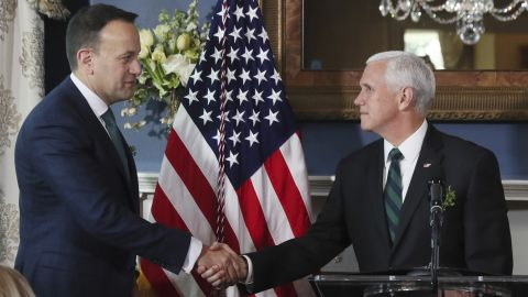 Leo Varadkar visit to US - Day 2. Taoiseach Leo Varadkar (left), who is on an official visit to the United States, shakes hands with the US Vice President Mike Pence during a breakfast meeting hosted by VP at his official residence in Washington DC. Picture date: Thursday March 14, 2019. See PA story IRISH Varadkar. Photo credit should read: Brian Lawless/PA Wire URN:41761255 (Press Association via AP Images)