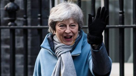 LONDON, ENGLAND - MARCH 14: British Prime Minister Theresa May leaves Number 10 Downing Street on March 14, 2019 in London, England. MPs in the House of Commons are to vote on delaying Brexit after they rejected the idea of leaving the EU without a deal last night. (Photo by Jack Taylor/Getty Images)