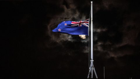 New Zealand's national flag is flown at half-staff on a Parliament building in the capital, Wellington, on March 15.