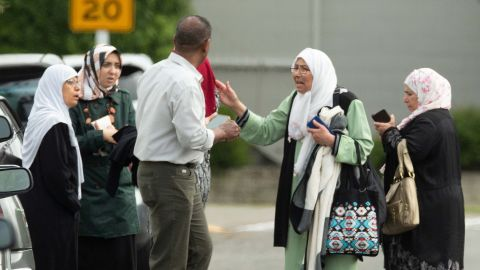 Family members after a shooting at the Al Noor mosque in Christchurch.