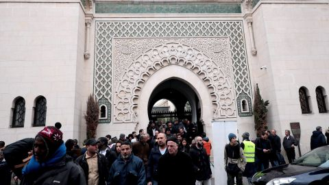 Worshippers leave the Great Mosque of Paris after Friday prayers.